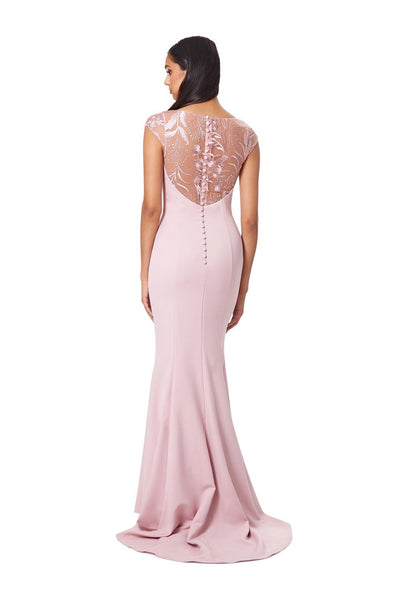 Masa Fishtail Maxi Dress with Lace Cap Sleeves and Embroidered Button Back