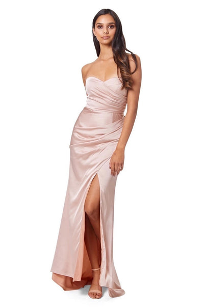Paige Strapless Ruched Maxi Dress with Thigh High Slit
