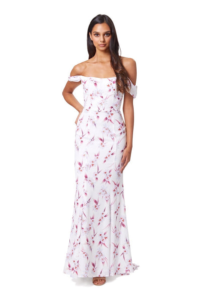 Catalina Bardot Fishtail Maxi Dress in Floral Print