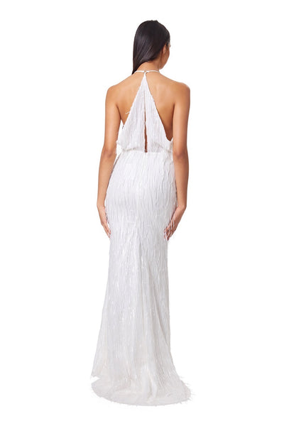 Analu Halter Neck Fringe Maxi Dress with Keyhole Draped Back