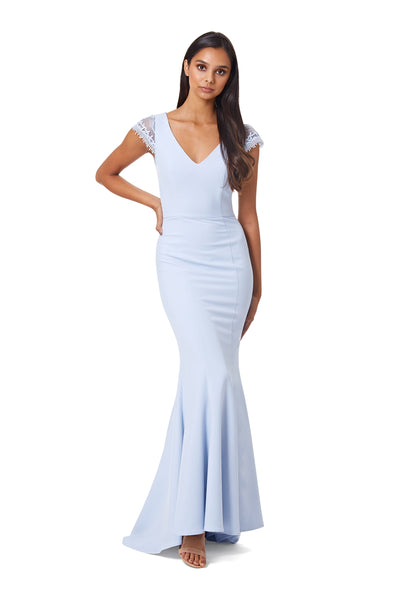 Maia V Neck Maxi Dress with Lace Cap Sleeves and Button Open Back