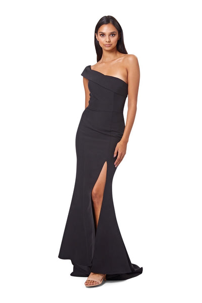 Sheridan One Shoulder Maxi Dress with Thigh High Slit
