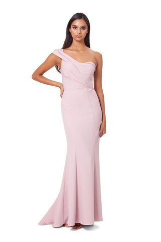 Annabelle One Shoulder Fishtail Maxi Dress with Pleated Shoulder Detail