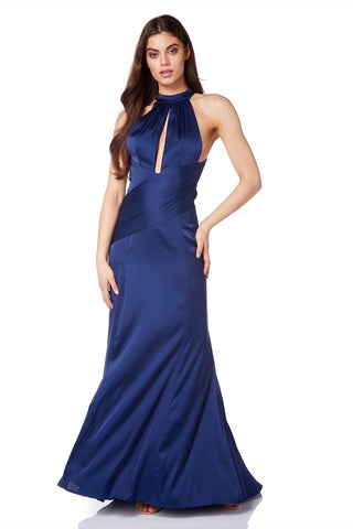 Camilla Fishtail Maxi Dress with Key Hole Neckline and Thigh High Slit