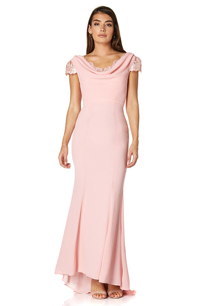 Scarlett Chiffon Maxi Dress with Button Back and Lace Cap Sleeves