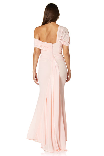 Naomi Off Shoulder Chiffon Maxi Dress with Fishtail Train