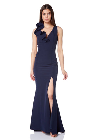 Billie Ruffle Plunge Fishtail Maxi Dress