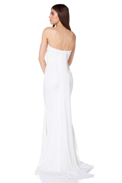 Pearl Bandeau Fishtail Maxi with Origami Pleat Detail