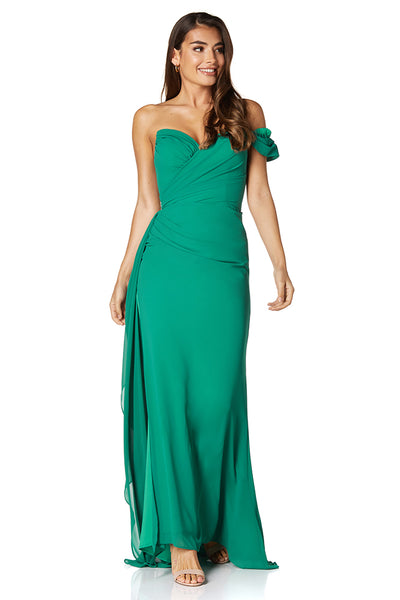Emery Chiffon Ruched Maxi Dress with One Shoulder Sleeve