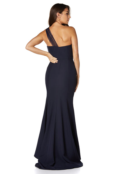 Brooke One Shoulder Tulle Top Maxi Dress with Thigh Split