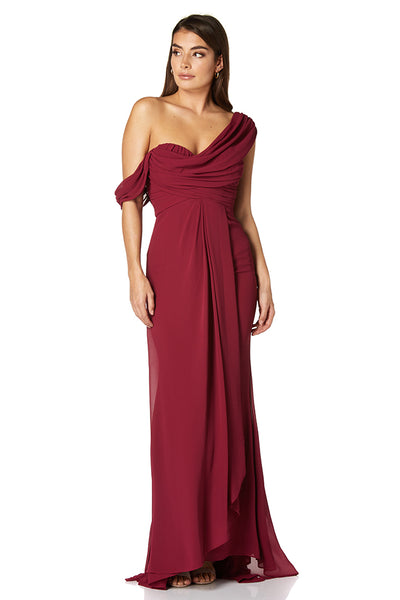 Paloma Pleated Drape One Shoulder Chiffon Gown