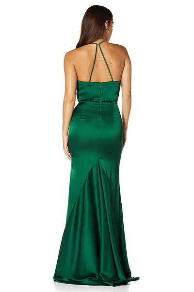 Morgan High Neck Fishtail Dress with Side Split
