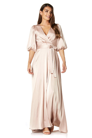 Jasmine Balloon Sleeve V Neck Wrap Tie Dress