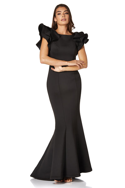 Rumi Exaggerated Sleeve Scuba Maxi Dress