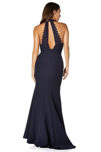 Sadie High Neck Lace Back Maxi Dress