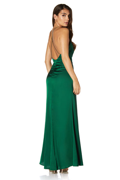 Stella Deep V Neck Open Back Dress with Side Split