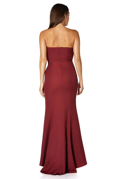 Mia V Neck Strapless Maxi Dress With Fishtail Train
