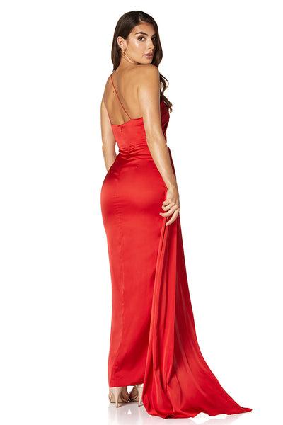 Harmony One Shoulder Strappy Back Maxi Dress With Faux Wrap Pleat Detail