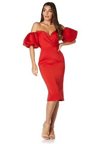 Amina Off Shoulder Puff Sleeve Scuba Midi With Sweetheart Neckline