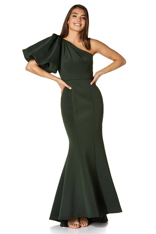 Frances One Shoulder Exaggerated Puff Sleeve Scuba Maxi Dress