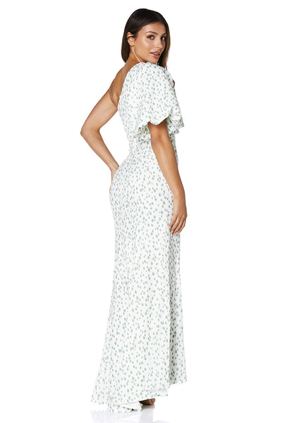 Isla One Shoulder Puff Sleeve Print Maxi Dress
