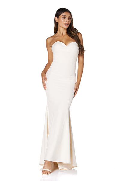 Nina Strapless Maxi Dress with Pleated Sweetheart Neckline