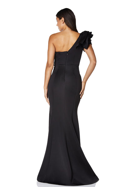 Eden Front Ruffle One Shoulder Scuba Maxi Dress With Thigh Split