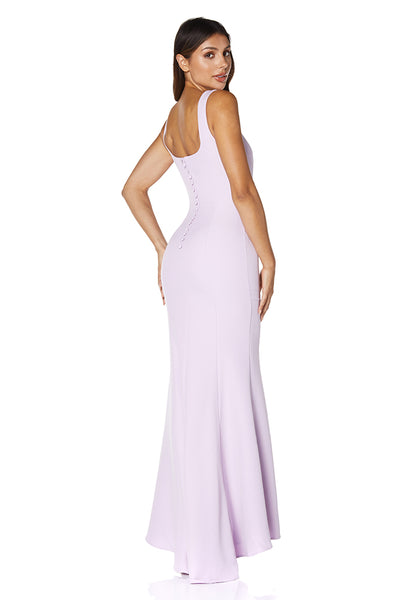 Senia Square Neck Maxi Dress With Button Back