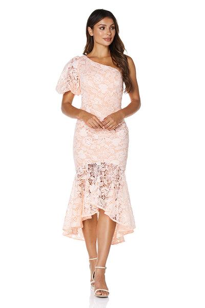 Rosie One Shoulder All Over Lace Midi Dress