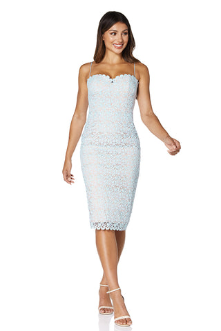Cheyanne All Over Lace Midi Dress with Spaghetti Straps