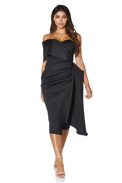 Gia Scuba Midi Dress with One Shoulder Sleeve