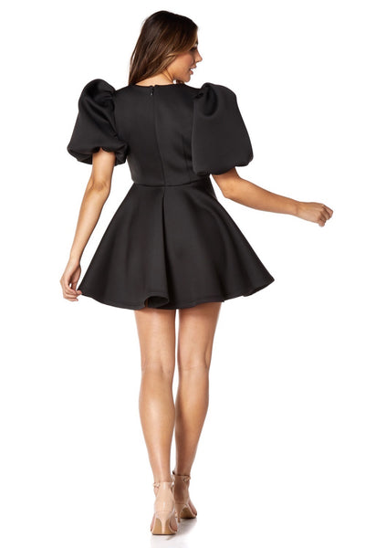 Melanie Puff Sleeve V Neck Scuba Mini Dress