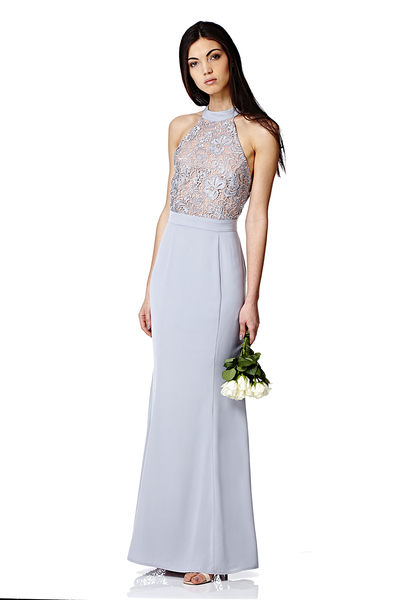 Caden Bridesmaid High Neck Lace Maxi Dress with Bow Back