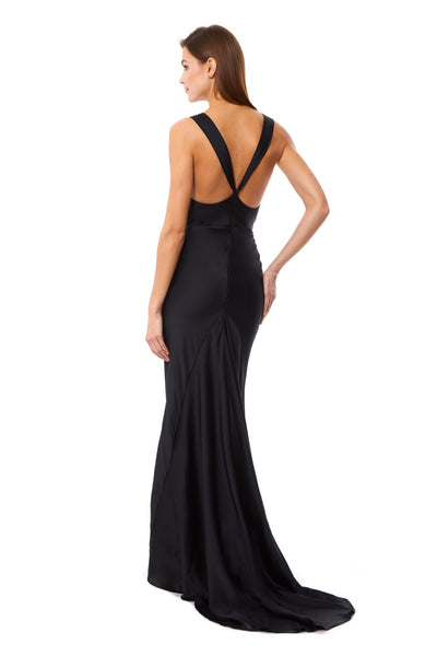 Mika Slinky Cowl Front Maxi Dress With Strappy Back Detail