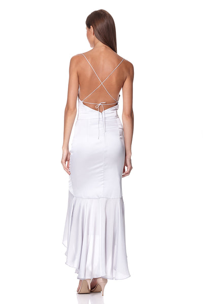 Diamond Cami Strap High Low Midi Dress