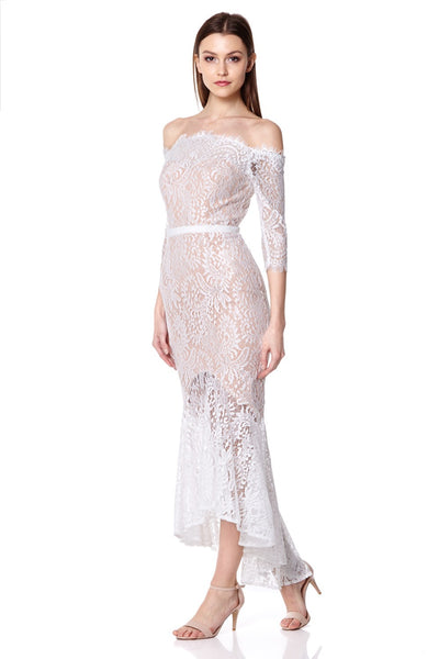 Delilah Bardot Lace High Low Midi Dress