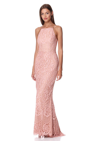 Ariel Allover Lace High Neck Maxi Dress