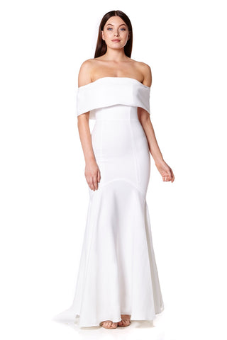Valentina Bardot Maxi Dress with Fishtail Train