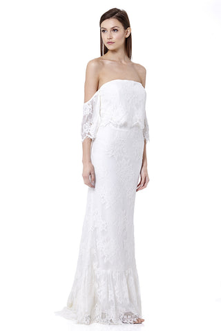Tigerlily Bardot Lace Maxi Dress with Train