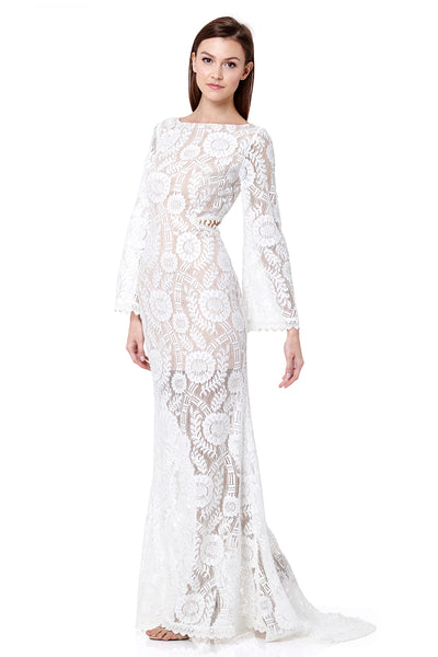 Ray Cutout Back Lace Maxi Dress With Train