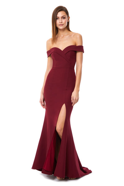 Bella Bardot Maxi Dress With Thigh Split And Train