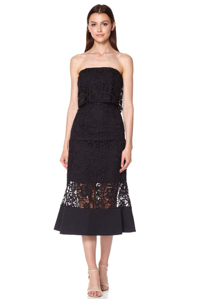 Xenia All Over Lace Strapless Midi Dress With Overlay