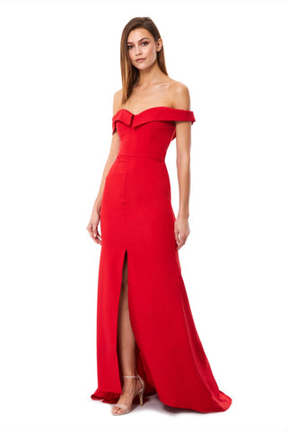 Autumn Bardot Maxi Dress With Thigh Split And Train Detail