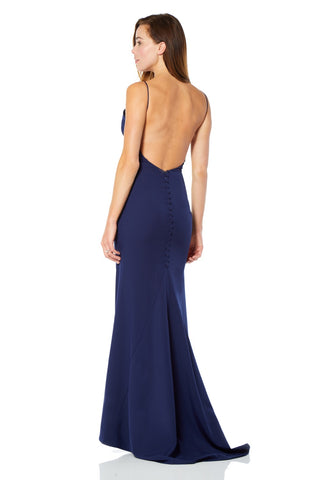 Aria Open Back Maxi Dress with Button Back Detail