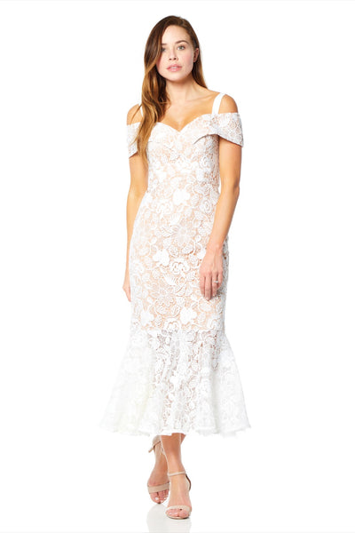 Abiona All Over Lace Cold Shoulder Midi Dress