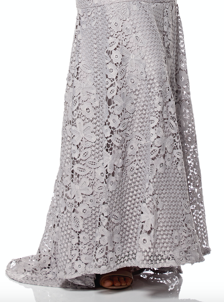 00bd1065744946 Nelly V Neck Lace Maxi Dress with Fishtail Train – Jarlo London
