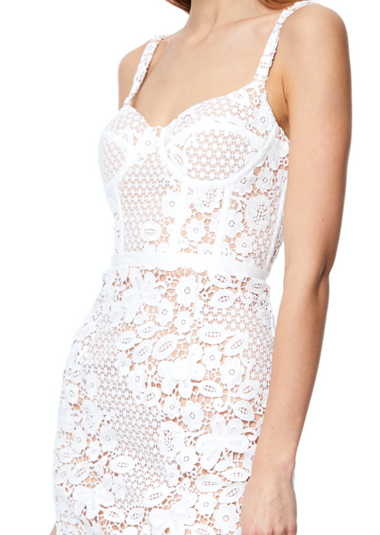 Isabella All Over Lace Midi Dress with Basque Top