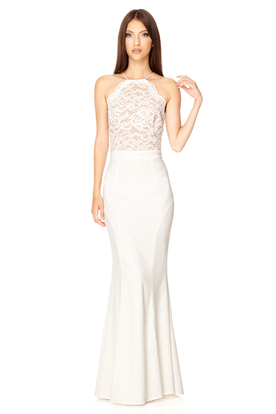 Chelsea High Neck Lace Dress With Tie Back Detail