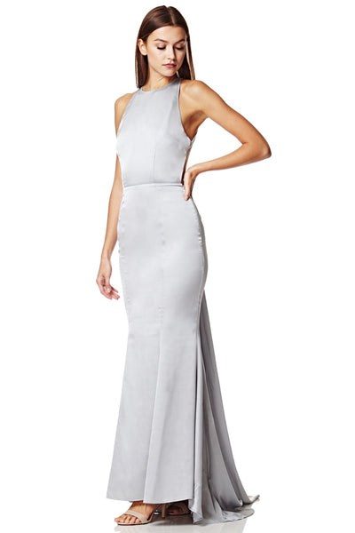 Blanche Open Back Maxi Dress With Train Detail
