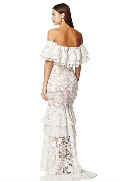 Vita Bardot Lace Maxi Dress with Frill Overlay